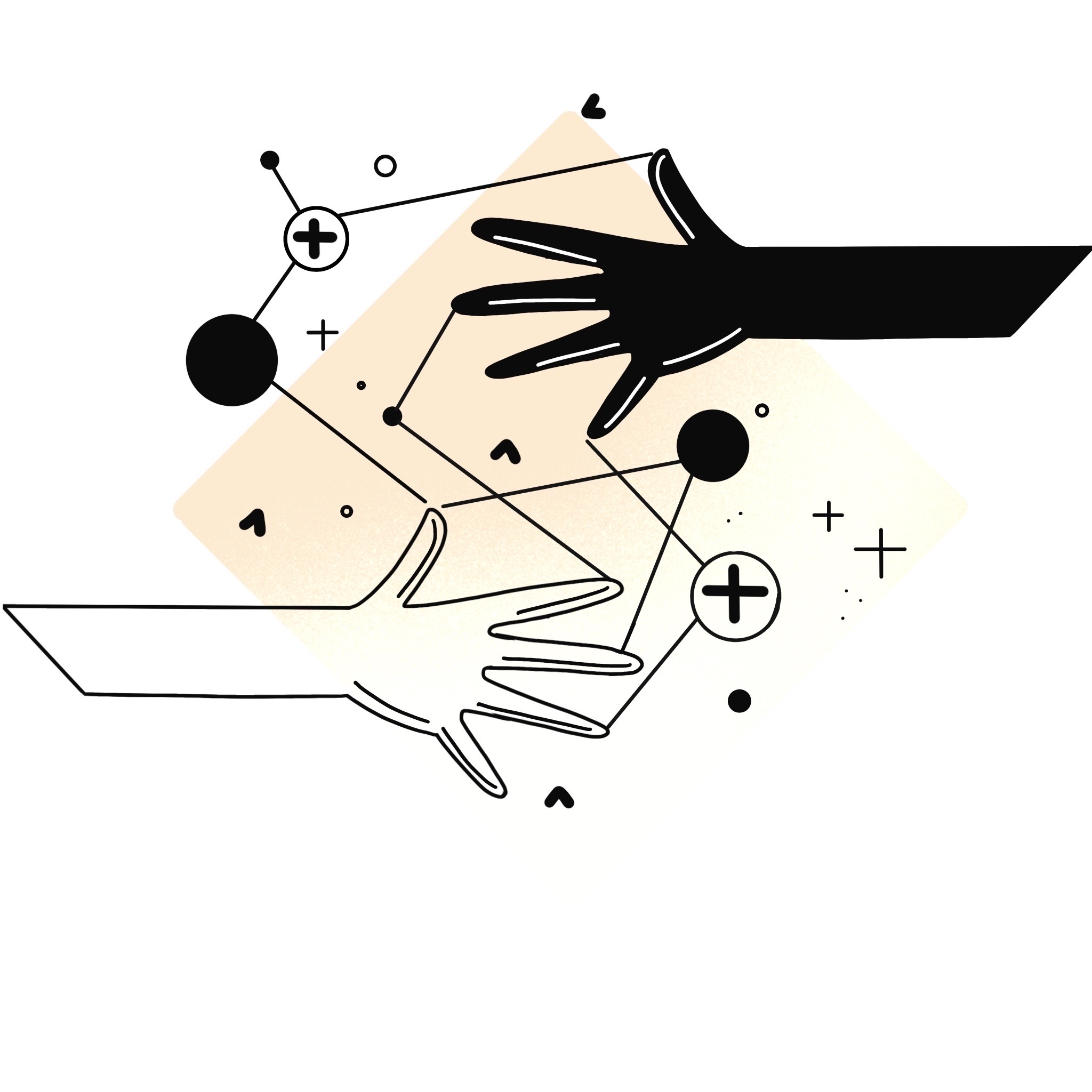 Icon of two hands, connected by lines