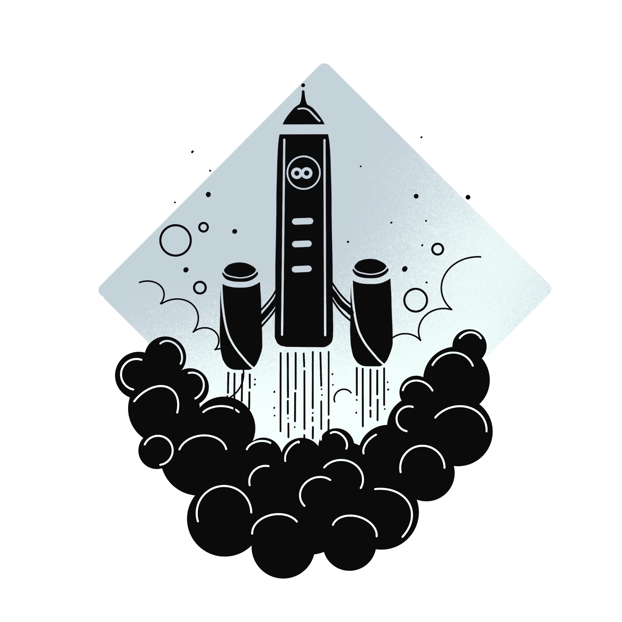 Icon of a launching space rocket