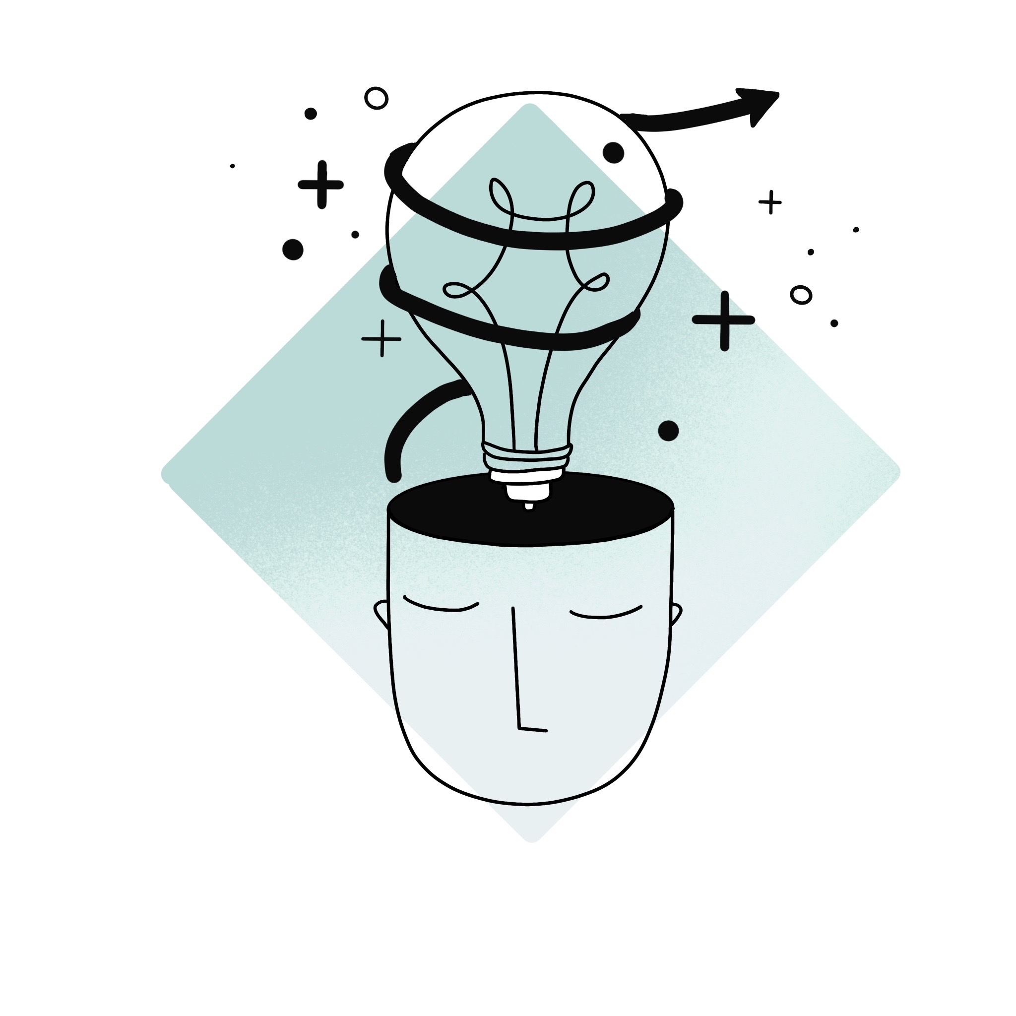 Icon of a head with a bulb on top of it